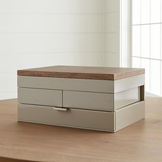 Warm wood and neutral taupe craft a contemporary jewelry box that unfolds to a treasure chest of roomy storage trays. Wood Box Design, White Jewelry Box, Jewelry Chest, Wood Storage Box, Wood Home Decor, Wood Tray, Jewellery Storage, Jewellery Boxes, Discount Furniture