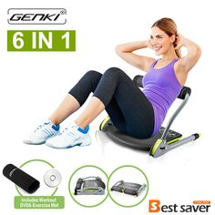 Genki Abs Machine Total Core Exercise Abdominal Trainer Ab Workout Fitness Equipment Sit Ups Crunches 6 In 1 (Exercise DVD Guide and Anti-Skid Pads) For Home Gym, Black Ab Workout Machines, Abs Workout Video, Six Pack Abs Workout, Abs Workout Routines, At Home Workouts, Workout Fitness, Ab Workouts, Crunch Workout, Ab Crunch