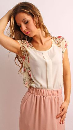Cream And Flowery Print Top