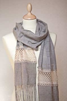 653e2fd4e61c Very long scarf made from finest linen, cotton vintage french lace and  embellished with long viscose fringes. The scarf measures approx. with  fringed and ...