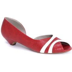Ronikantor Nechama Kitten Heels - Strawberry Red & White