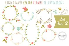 Check out Hand Drawn Vector Flower Graphics by Eclectic Anthology on Creative Market