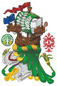 Crest in the larger sense of the word (or Oberwappen)of Mihajlo Grujic, with badges of his parents