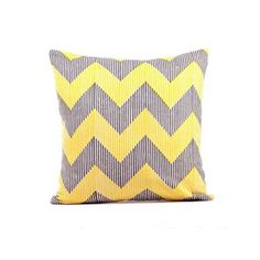 "love these colors together Zig Zag Pillow 16"" Gray Yellow, $30, now featured on Fab."