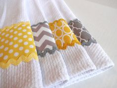 Set of 4 Yellow and Grey kitchen Towels yellow and by AugustAve                                                                                                                                                      More