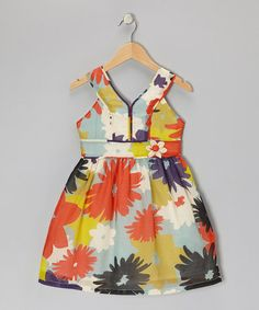 Take a look at this Orange & Light Blue Floral Dress - Girls by Willoughby on #zulily today!