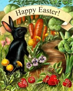 Happy Easter! Love that little black bunny ready to walk down the veggie carrot and strawberry path.