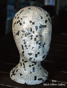 Crossword  Mannequin Head Wig Hat  Display by BlackWillowGallery, $45.00 Hat Display, Craft Show Displays, Crafts To Do, Arts And Crafts, Art Themed Party, Styrofoam Head, Wig Hat, Postage Stamp Art, Mosaic Madness