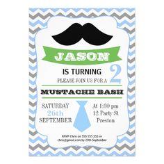 Little Man Blue Grey Chevron Birthday Invitation