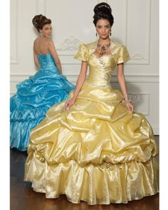 Gold Ball Gown Strapless Sweetheart Full Length Quinceanera Dress With Jewel and Ruffles