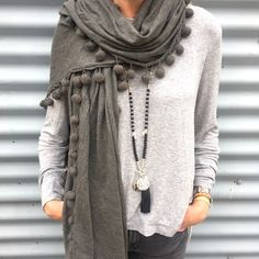 Charcoal pompom scarf with Black Dalmation Jasper necklace from Pink Deer Cool Outfits, Fashion Outfits, Fashion Trends, Trendy Fashion, Grey Scarf, Fashion Gallery, Embroidered Lace, Comfortable Outfits, Fashion Advice
