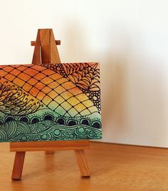 COLORFUL ABSTRACT ACEO, Mixed Media, Soft Pastel and Ink, Zentangle Inspired Art
