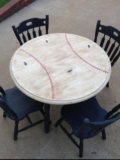 """Baseball Table-painted this set for a friend's """"Brave's Themed Room""""! Check out my Facebook page Now and Then Creations!!"""
