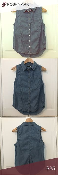 Urban Outfitters split back chambray top BDG brand from Urban Outfitters. Striped, chambray button down top. Sleeveless. Slightly longer in back with a split. Adorable!! EUC! 100% cotton. Size is M. Urban Outfitters Tops Button Down Shirts