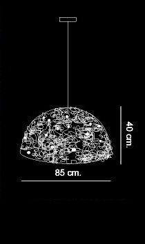 Cristal Waters Hood. Lámpara de techo metálica hecha artesanalmente acabado níquel. Otros tamaños bajo pedido. Diseñador Brand Van Egmond