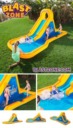 Your little ones will love staying cool with this lightweight, fun water slide! Bring the amusement park home with Blast Zone bounce inflatables. Browse an extensive selection at www.BlastZone.com #SpraynSplash