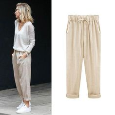 Plus Size Women Pants Linen Cotton Casual Harem Pants Candy Color Harajuku Green Trousers Female Ankle-length Length Pants Linen Pants Outfit, Trouser Outfits, Linen Trousers, Baggy Pants Outfit, Loose Pants Outfit Summer, Trousers High Waisted, High Waist Pants, Elastic Waist Pants, Linen Crop Pants