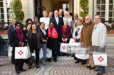 Prince Albert II of Monaco and Princess Charlene of Monaco attend the Parcels Distribution At Monaco Red Cross Headquarters on November 17 2016 in...