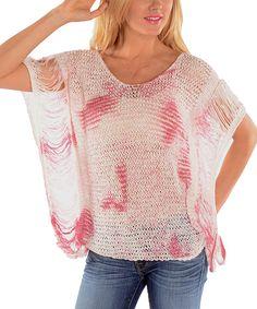 Look at this #zulilyfind! Pink & Cream Tie-Dye Crochet Boatneck Top by Shoreline #zulilyfinds