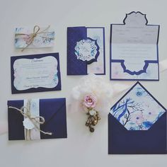 Handmade rustic burlap watercolour navy rose anemones floral wedding invitations
