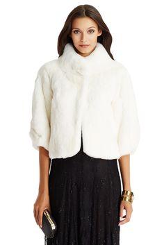 DVF Liza short fur coat in ivory