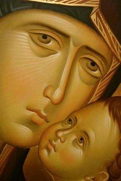Byzantine Icons, Byzantine Art, Religious Icons, Religious Art, Face Icon, Russian Icons, Religious Paintings, Holy Mary, Madonna And Child
