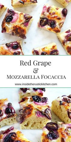 Red grape and mozzarella focaccia with a sprinkling of thyme. Absolutely delicious and perfect for the weekend. Get the recipe http://insidetehrustickitchen.com