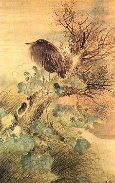 Matsumura Goshun, Hibiscus and Blue Heron on a Tree Stump, 1792