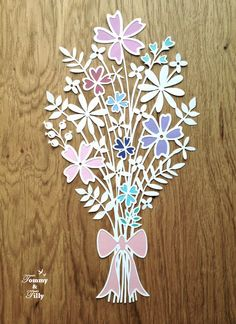 Flower Bouquet Design - Papercutting Template to print and cut yourself (COMMERCIAL USE)