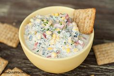 Skinny Poolside Dip #recipe by bunsinmyoven.com | This dip is perfect for a hot summer day! The crunchy veggies and creamy cheese are cool a...