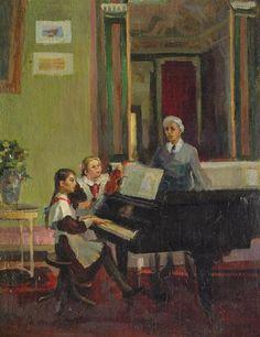 """""""Music Lesson / Урок музыки"""", 1951. Старкова-Власовская Майя Леонидовна (Россия, 1924)"""