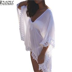 6ae196eb23 Style d  eacute t eacute  Blusas 2017 Sexy Femmes Casual L acirc che Solide  Blanc Dress See-Through Tops Col V Profond Maillot de Bain Blouse Dress  Vestidos
