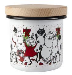 Moomin Winter Magic enamel jar with wooden lid - Muurla Moomin Shop, Moomin Mugs, Magi 3, Magic Theme, Stainless Water Bottle, Tove Jansson, Friend Mugs, Winter Magic, Cute Mugs