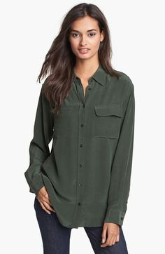 Own this, wear at least once a week, great in humidity. -CF Equipment 'Signature' Silk Shirt   Nordstrom