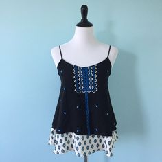 Black Printed Tank Black tank with blue detailing and white layer underneath, size XS, not forever 21, just using for exposure Forever 21 Tops Tank Tops