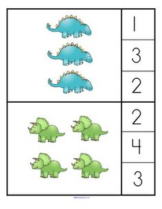 """fine motor: A """"counting/associate the number with a set"""" game with a dinosaur theme for young learners. 2 levels of set arrangement - easier to count/ harder to count. Dinosaur Theme Preschool, Dinosaur Activities, Preschool Themes, Preschool Kindergarten, Preschool Printables, Teaching Math, Dinosaur Classroom, Teaching Geography, Math Classroom"""