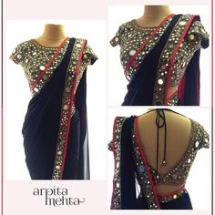 18 Latest Mirror Work Blouse Designs for Sarees this Festive Season [Styling Tips inside] Saree Blouse Patterns, Saree Blouse Designs, Indian Designer Outfits, Indian Outfits, Indian Clothes, Mirror Saree, Mirror Work Saree Blouse, Mirror Work Blouse Design, Saree Trends