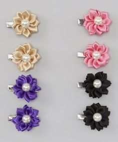 Love this Champagne  Purple Flower Hair Clip Set by Tutu AND Lulu on #zulily! #zulilyfinds
