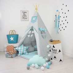 Children's Room Decor – Teepee Set Kids Play Tent Tipi -Imaginary Friend – a unique product by MamaPotrafi on DaWanda Kids Play Teepee, Childrens Teepee, Child Teepee, Play Tents, Kids Wigwam, Baby Boy Rooms, Baby Bedroom, Kids Bedroom, Nursery Boy