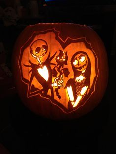Jack and Sally. I <3 them! Real pumpkin carved by WynterSolstice. Stoneykins pattern