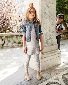 J.Crew girls' washed denim jacket, sparkle leopard knit dress, Selima Optique® for J.Crew crystal-clear glasses and classic glitter ballet flats. To pre-order, call 800 261 7422 or email verypersonalstylist@jcrew.com.