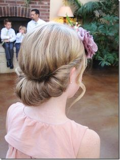 Tween wedding hair-do.flower girl
