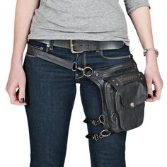 """The Speed and Strength® Speed Society™ leather motorcycle bag has a 10""""L X 8""""W X 3""""D leather frame with zippered pockets and features removable, adjustable straps engineered for multiple configuration"""