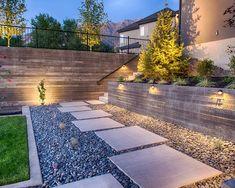 günstige materialien Gartenwege-gestalten mit Stein-Kies rechteckige Trittsteine
