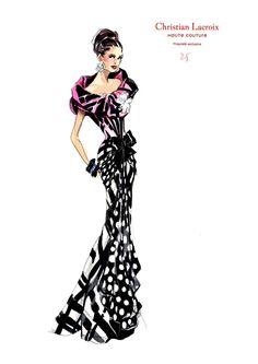 Lacroix croquis clientèle - 1 Fashion Illustration Sketches, Beauty Illustration, Fashion Sketches, Fashion Art, Fashion Models, Fashion Beauty, Fashion Design, Christian Lacroix, Silhouette Mode