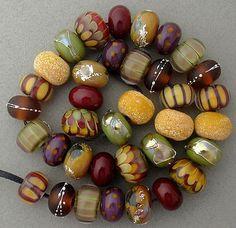 DSG Beads Handmade Organic Lampwork Glass Autumn Tones | eBay