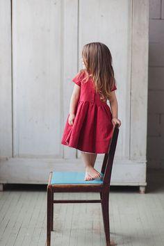 Leinenkleid Red Kids Fashion Hand gemacht Kinder von SondeflorShop
