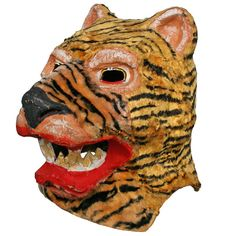 Shop masks and other folk, tribal and outsider art from the world's best furniture dealers. Jaguar Panther, Panther Leopard, Paper Mache Mask, Lion Mask, Monster Mask, Animal Masks, Outsider Art, Amusement Park, Art Projects