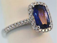 Ring - 18k white gold 2.23ct sapphire .40ct diamond ring @Jaymark Jewelers #engagement #diamondhalo #sapphirering