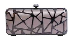 Love this taupe and silver box clutch with diamante clasp from Olga Berg #handbag #style